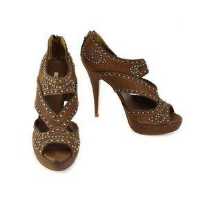 MIU MIU: Brown, Leather & Silver Studded Heels